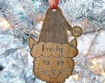 Personalized Cat Ornament - Gift for Cat Lover - Wooden Ornament - Stocking Stuffer - Gift