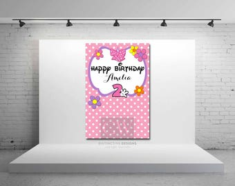 Minnie Mouse Bowtique Inspired Backdrop - JPEG FILE - Minnie Sign - Birthday Party Decorations