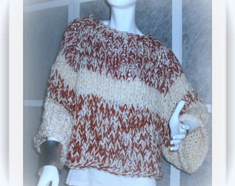 SWEATER WOMANS KNITTED Oversized Bulky Chunky   Poncho With Sleeves   Off white and Rust Color