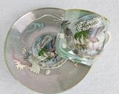 Vintage Mid Century Florida Souvenir Miniature Teacup / Saucer Set