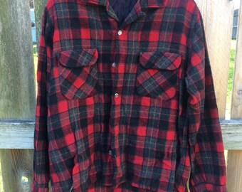 vintage wool plaid shirt - red, grey, black plaid with yellow stripe