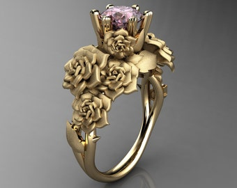 Nature Inspired 14K Yellow Gold 1.0 Ct Light Pink Sapphire Rose Bouquet Leaf and Vine Engagement Ring R427-14KYGSLPS