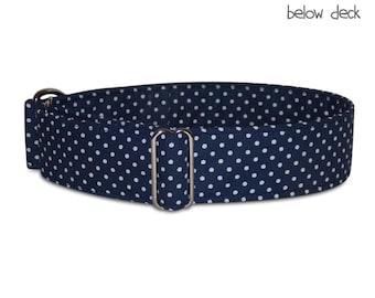 "boy dog collar *below deck*, polka dots, maritim, nautical, blue greyhound collar; martingale, buckle or tag collar; wide 1""- 2""; size XS-XL"