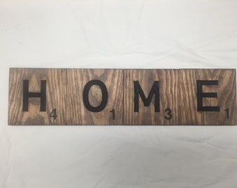 Big large scrabble tiles wall decor HOME engraved accents walnut