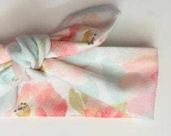Peach watercolor knotted baby headband