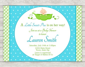 Sweet Pea Baby Shower Invitation, Boy Baby Shower Invitation (Available As Printable File or Printed Invitations)