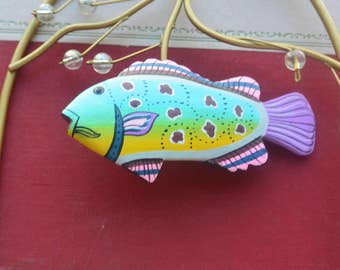 1970's Wood Fish Brooch - Hand Painted, Colorful - Vintage - Fabulous!