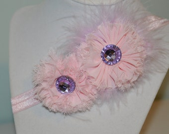 Pink and Purple Elastic Infant Headband