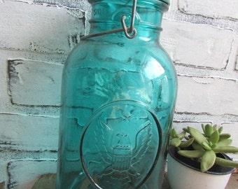 Ideal Ball Jar Bicentinnal 1776-1976 Aqua Blue Jar Large Half Gallon