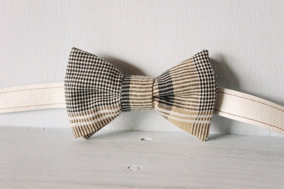 Bow tie unisex >> Formal black, grey, white stripe patterned bow, leather strap, buckle >> Brisbane