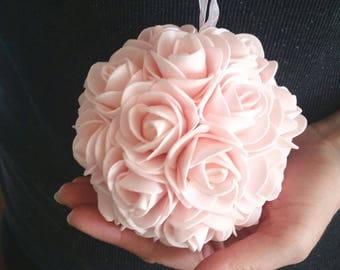 SALE - Single peach foam flower kissing balls - wedding pew rose flower ball - peach wedding rose decor centerpiece - peach kissing ball