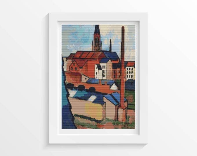 Cross Stitch Pattern PDF, Embroidery Chart, Art Cross Stitch, Architecture, St. Mary's with Houses and Chimney by August Macke (MACKE02)