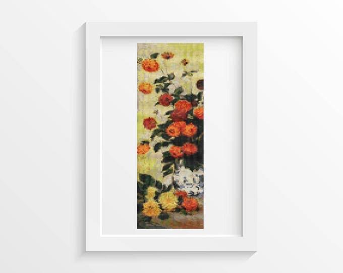 Cross Stitch Pattern PDF, Embroidery Chart, Art Cross Stitch, Floral Cross Stitch, Dahlias II by Claude Monet (MONET07)