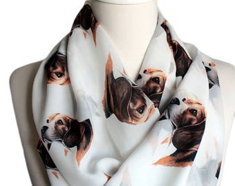 Beagle White Infinity scarf, Circle scarf, Loop scarf, Wide Scarf, Shawls, spring - fall - winter - summer fashion