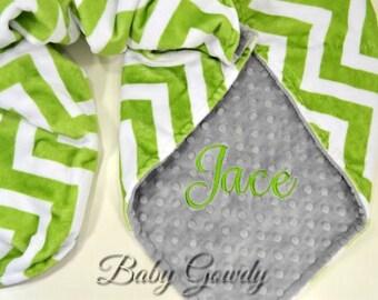 SALE - Personalized Minky Baby Blanket - Jade Chevron Minky - Minky Dimple Dot - Custom Baby Blanket- Monogram