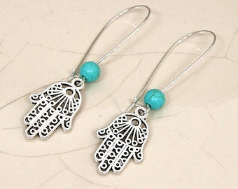 Silver Hamsa Dangle Earrings, Turquoise Gemstone Bead, Hand of Fatima offers Strength and Protection, Unique Design, Kidney Wire Earrings.