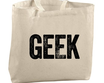 Geek Tote Bag Gifts for Sister Gifts for Him Gifts for Mom Gifts for Girlfriend Gifts for Wife Nerd Lover Tote Bag for Library Books