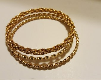 Vintage 3 Gold Tone Bangle Bracelets