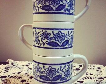 Vintage Stacking Mugs - Set of Three - Made in Japan