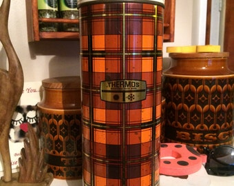 Vintage Metal Plaid Thermos in Gold, Orange, Brown and Bronze