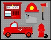 SUPER SALE Firefigher Clip Art, Firetruck Clip Art, Red Firetruck Clipart - NRCDesignStudio