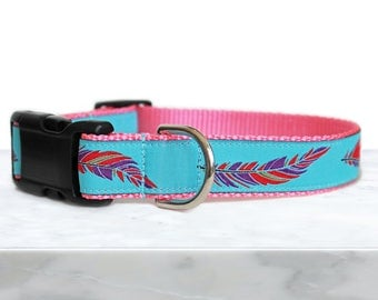Boho Dog Collar with Feathers, Can be Personalized, Girl Dog Collar, Pink and Aqua, Summer Dog Collar, Gift Box Included- Colorful Feathers