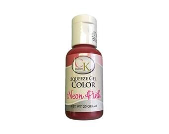 Neon Pink Gel Color, 20 Gram Squeeze Bottle, CK Products, Baking Supplies
