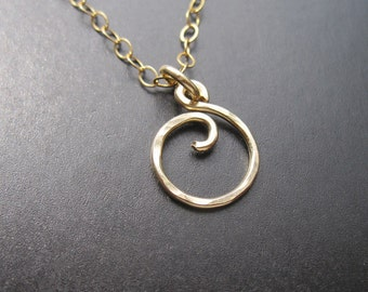 MINI SWIRL Interchangeable Necklace Handmade Pendant Sterling Silver, Gold Filled, Rose Gold Free Drops