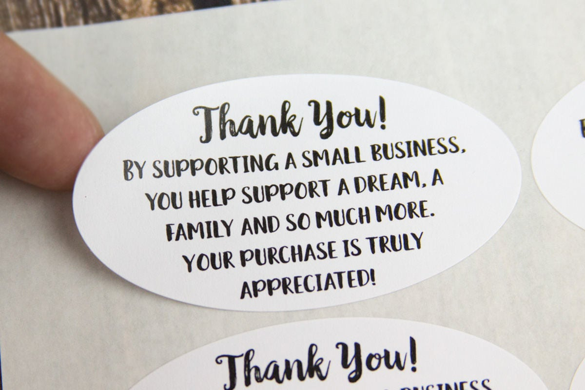 thank you for supporting a small business thank you stickers