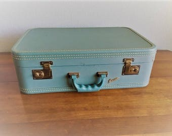Vintage Suitcase Crown Luggage Turquoise Beautiful Color Eiffel Tower Interior  Bakelite Handle Free Shipping