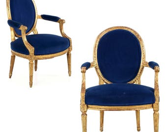 French Louis XVI Period Pair of Giltwood Fauteuils, c. 1780