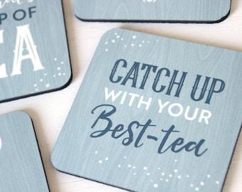 Light Blue Coaster Set of 4 // Bestie Gifts, Housewarming Gift, Tea Lover Gift // Cork Coasters, Rustic Coaster Set