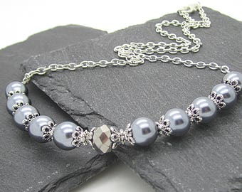 Pewter Pearl Bridal Jewellery, Grey Bridesmaid Necklace, Pearl Wedding Sets, Bridesmaid Gifts, Grey Silver Wedding, Dark Grey Pearl Necklace