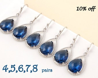 Navy Blue Earrings Set of 4, 5, 6, 7, 8 10% Off Silver Drop Dangle Earrings  Nautical Wedding Bridal Jewelry Bridesmaid Maid of Honor Gift
