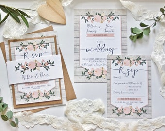 Rustic Wedding Invitation SAMPLE - Floral Wedding Stationery Bundle - Wood effect and Pink Flowers with Calligraphy and Foliage - 5x7 Invite