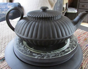 AnTique Early 19thC Black Basalt TEAPOT