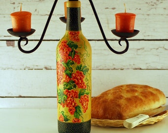 Wine bottle candle holder, hand painted grape vine,