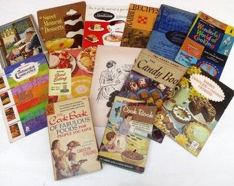 Lot 13 Vintage Mid Century 1940s 1950s 1960s Cook books.  retro cookbooks Vintage advertising booklets phamplets. Calumet Sunbeam Baking
