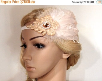 SALE Champagne Gatsby headband, Flapper headband, Gatsby Headpiece, Great Gatsby 1920 headpiece, Beaded Feather headband, Roaring 20s headba