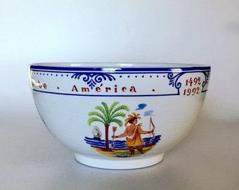 Tiffany Quinto Centenario Commemorative Bowl w/ Box ~ 500 Years ~ 1492-1992