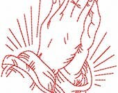 Redwork Faith & Devotions No. 5 Machine Embroidery Design/Christian Religious Pattern - 6 Sizes - Prayer Praying Hands