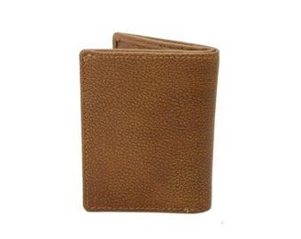 Mens Small Slim Bifold Genuine Leather Wallet Coins Kango Tan 9640