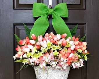 Summer Wreath For Front Door,Tulip Basket for Front Door,Anniversary Gift,Farmhouse Door Decor,Door Basket,Wreath Alternative,Housewarming