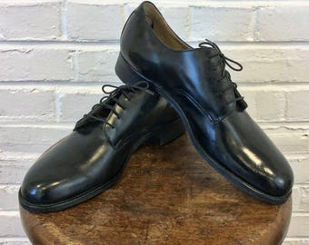 Vintage 1970s NOS Black Goodyear Welt Leather Workwear Oxford Shoes built on US Navy Service Shoe Last. Size 10 1/2D