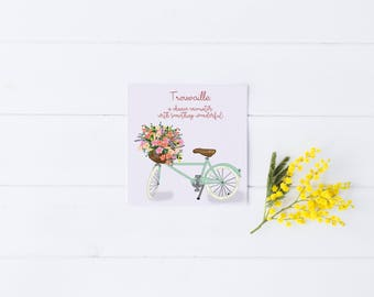 Just Because Card Greeting Bike Flowers Hipster Occasion