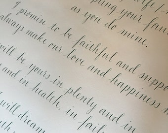 "Hand Calligraphy Wedding Vows - Large 24 x 24"" Size - Available in Ink Color of Choice - White or Off White  - Prices Starting At:"