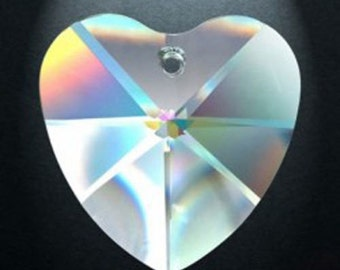 5 Clear 28mm Heart Chandelier Crystal Prism Asfour Lead Crystal