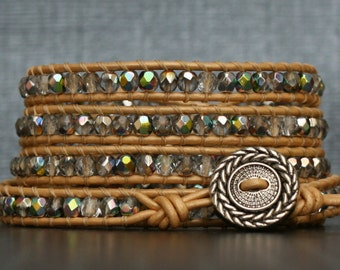 bohemian wrap bracelet - iridescent crystal on pale gold leather - boho wedding - champagne