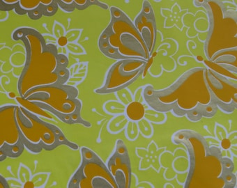 Vintage 60's 70s Gift Wrap ~ Any Occasion ~ Wedding ~ Birthday ~ Metallic Silver Gold Yellow Butterflies