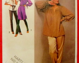 Boho Peasant Pullover Tunic Top, Gathered Yolk, Pants Simplicity 9273 Sewing Pattern Miss Size 12 1970's UNCUT